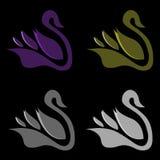 Современный стильный логотип лебедя вектора Стоковые Изображения