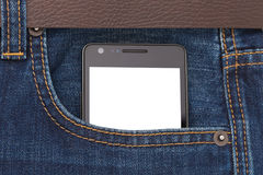 Современный телефон в экрана дисплея джинсов карманный Стоковое Изображение RF
