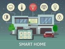 Современный умный дом, на ноче Плоская концепция стиля дизайна, система централизованного контроля также вектор иллюстрации притя Стоковые Изображения