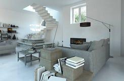Современный уютный интерьер живущей комнаты в серых тонах иллюстрация штока