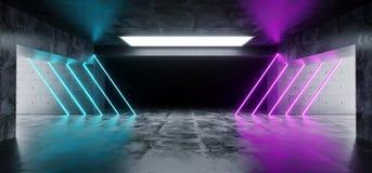 Современный футуристический подземный отражательный конкретный гараж пустой r иллюстрация вектора