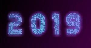 Современный футуристический шаблон на микропроцессор 2019/технология/футуристическая монтажная плата 2019 иллюстрации вектора пре иллюстрация штока