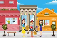 Современный ходить по магазинам женщин Стоковые Фото
