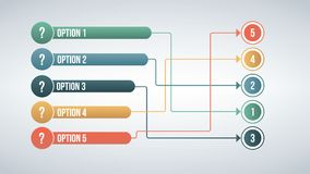 Современный цвет 6 соединяет концепцию спички вариантов infographic Иллюстрация вектора изолированная на белой предпосылке Стоковые Фото