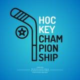Современный чемпионат хоккея на льде плаката с шайбой на льде также вектор иллюстрации притяжки corel иллюстрация штока