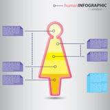 Современный человеческий figurine женщины с графическим представлением значения внутрь Стоковая Фотография RF