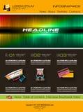Современный шаблон вебсайта с плоским планом infographics стиля Стоковые Изображения