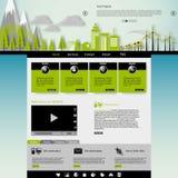 Современный шаблон вебсайта Eco с плоской иллюстрацией города eco Стоковое фото RF