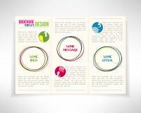 Современный шаблон дизайна рогульки листовки брошюры 3 створок с кругами также вектор иллюстрации притяжки corel Стоковое фото RF