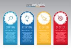 Современный шаблон Информаци-графика для дела с дизайном мульти-цвета 4 шагов, ярлыками конструирует, элемент информаци-графика в Стоковое Изображение RF