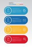 Современный шаблон Информаци-графика для дела с дизайном мульти-цвета 4 шагов, ярлыками конструирует, элемент информаци-графика в Стоковое Изображение