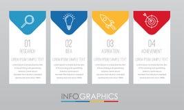 Современный шаблон Информаци-графика для дела с дизайном мульти-цвета 4 шагов, ярлыками конструирует, элемент информаци-графика в Стоковая Фотография RF