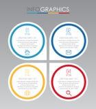 Современный шаблон Информаци-графика для дела с дизайном мульти-цвета 4 шагов, ярлыками конструирует, элемент информаци-графика в Стоковые Фотографии RF