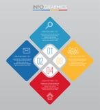 Современный шаблон Информаци-графика для дела с дизайном мульти-цвета 4 шагов, ярлыками конструирует, элемент информаци-графика в Стоковое фото RF