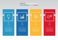 Современный шаблон Информаци-графика для дела с дизайном мульти-цвета 4 шагов, ярлыками конструирует, элемент информаци-графика в Стоковые Фото
