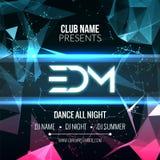 Современный шаблон партии музыки EDM, рогулька танцев, брошюра Плакат знамени клуба партии ночи Стоковое Изображение