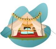 Современный шатер с плакатом мебели иллюстрация штока