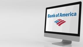 Современный экран компьютера с логотипом Государственного банка Америки зажим передовицы 4K иллюстрация вектора