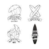 Современный эскиз изолировал комплект занимаясь серфингом эмблемы логотипа иллюстрации с литерностью Элемент дизайна, логотип Стоковые Фотографии RF