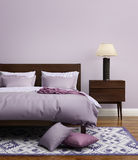 Современный элегантный свет - фиолетовая роскошная спальня Стоковое Изображение RF