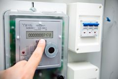 Современный электрический счетчик Стоковое Фото