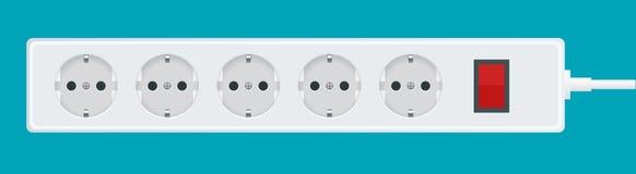 Современный электрический удлинитель на белой предпосылке Иллюстрация штепсельной вилки выхода силы Стоковые Фото