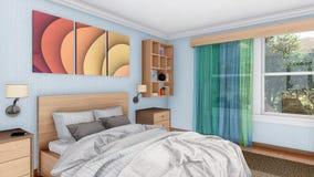 Современный яркий интерьер спальни с двуспальной кроватью 3D Стоковые Фото