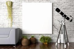 Современный яркий интерьер 3d представляют Стоковые Фотографии RF