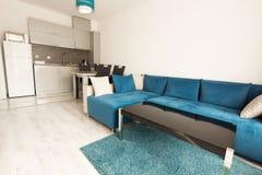 Современный яркий и уютный дизайн интерьера живущей комнаты с софой, обеденным столом и кухней Квартира-студия серого цвета и син стоковое изображение