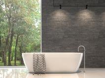 Современный современный bathroom со стеной 3d природы каменной представить бесплатная иллюстрация