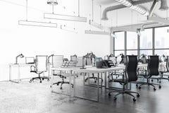 Современный coworking интерьер офиса иллюстрация штока
