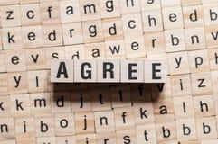 Согласитесь концепция слова стоковое изображение