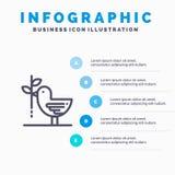 Согласование, голубь, приятельство, сработанность, линия значок пацифизма с предпосылкой infographics представления 5 шагов иллюстрация штока