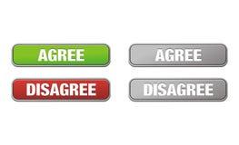 Согласитесь и противоречьтесь кнопки Стоковое Фото