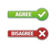 Согласитесь и противоречьтесь комплекты кнопки Стоковое Изображение