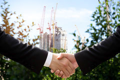 Согласование встряхивания руки дела окружающей среды схематическое Стоковые Изображения
