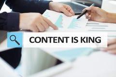 Содержание текст короля в баре поиска Дело, технология и концепция интернета Маркетинг цифров стоковое фото