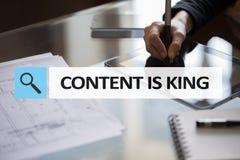Содержание текст короля в баре поиска Дело, технология и концепция интернета Маркетинг цифров стоковые изображения rf
