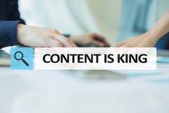 Содержание текст короля в баре поиска Дело, технология и концепция интернета Маркетинг цифров стоковое изображение rf