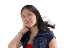 содержимая девушка выражений стоковые изображения rf
