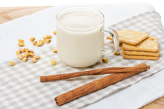 Соевое молоко с натюрмортом фасоли сои Стоковая Фотография