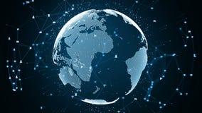Соединение глобальной вычислительной сети и концепция информационных соединений Значок на безопасной технологии глобальной вычисл иллюстрация вектора