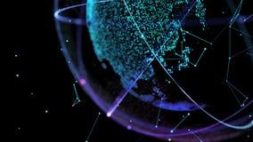 Соединение глобальной вычислительной сети сети мира 4K цифров Планета поворачивает петли плавно иллюстрация вектора