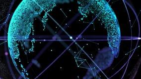 Соединение глобальной вычислительной сети сети мира 4K цифров Планета поворачивает петли плавно иллюстрация штока