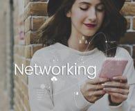 Соединение связи глобальной вычислительной сети онлайн стоковое изображение