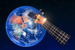 Соединение спутниковой радиосвязи, передает радиосвязь на геостационарной орбите земли Против backgro стоковое фото