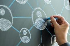 соединения принципиальной схемы chalkboard мелка дела классн классного рисуя social фото людей сети сети средств Стоковые Фотографии RF