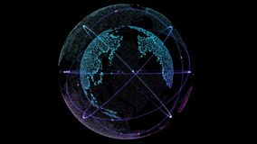Соединенная глобальная вычислительная сеть Соединение цифровой технологии земли с спутниками двигая по орбите Петля безшовная Гло иллюстрация вектора