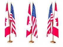 соединенное положение флагов Канады Стоковое Изображение RF