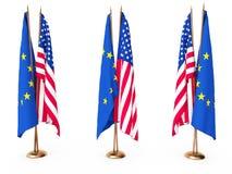 соединенное положение флагов eu Стоковые Изображения RF